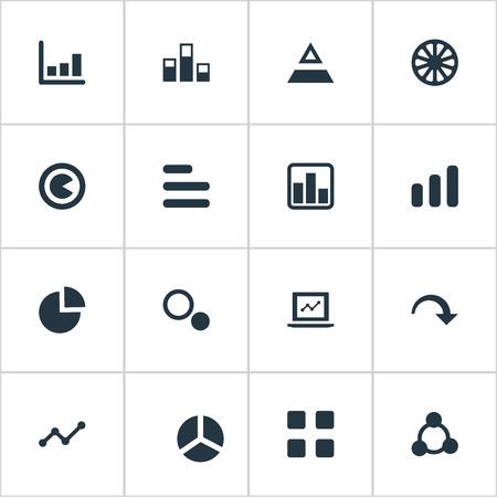 Elementen segmenteren, segmenteren, afwijzen en andere synoniemen verlagen, afwijzen en grafiek. Vector illustratie Set van eenvoudige grafiek iconen.
