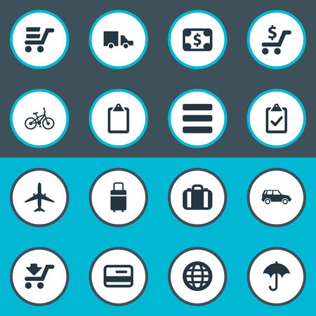 Elements Velocipede, Travel Suitcase, Online Transaction And Other Synonyms Vacation, International And Price.  Vector Illustration Set Of Simple Handing Icons. Illustration