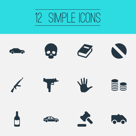 Elements Volunteer, Automobile, Cash And Other Synonyms Volunteer, Document And Cash.  Vector Illustration Set Of Simple Offense Icons.