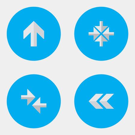 Elementen naar boven, exporteren, binnen en andere synoniemen importeren, pijl en terug. Vectorillustratiereeks Eenvoudige Indicatorpictogrammen.