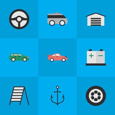 Elementos sedán, cobertizo, acumulador y otros sinónimos de carga, cupé y escalera. Ilustración vectorial Conjunto de iconos de transporte simple. Foto de archivo - 83660344