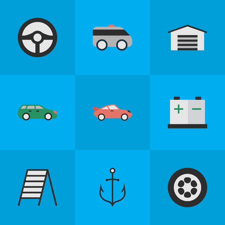 Elements Sedan, Shed, Accumulator And Other Synonyms Charge, Coupe And Ladder.  Vector Illustration Set Of Simple Transportation Icons. Иллюстрация