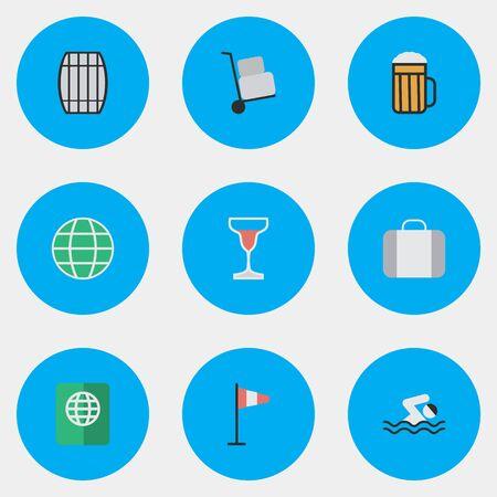 Elementen vlag, zwembad, wereld en andere synoniemen vat, zwemmen en planeet. Vectorillustratiereeks Eenvoudige Vakantiepictogrammen. Stock Illustratie