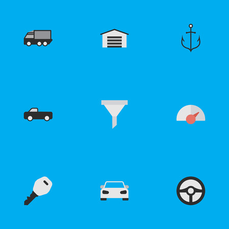Elements Lorry, Open, Strainer And Other Synonyms Lock, Automobile And Armature.  Vector Illustration Set Of Simple Shipping Icons. Illustration