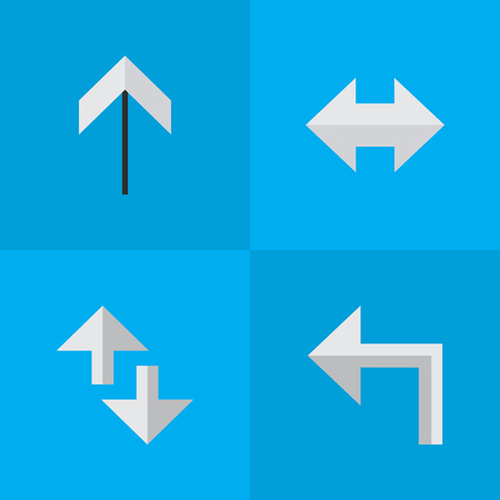 Elements Up, Orientation, Cursor And Other Synonyms Arrow, Left And Loading.  Vector Illustration Set Of Simple Indicator Icons. 向量圖像
