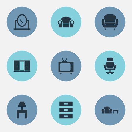 要素のワードローブ、鏡、テレビ、他の同義語アームチェア, 側と鏡。 シンプルな家具のアイコンのベクトル イラスト セット。