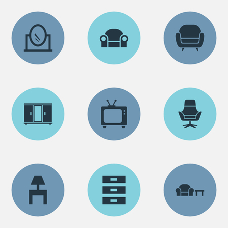 Elements Wardrobe, Looking-Glass, Tv And Other Synonyms Armchair, Side And Looking-Glass.  Vector Illustration Set Of Simple Furnishings Icons.