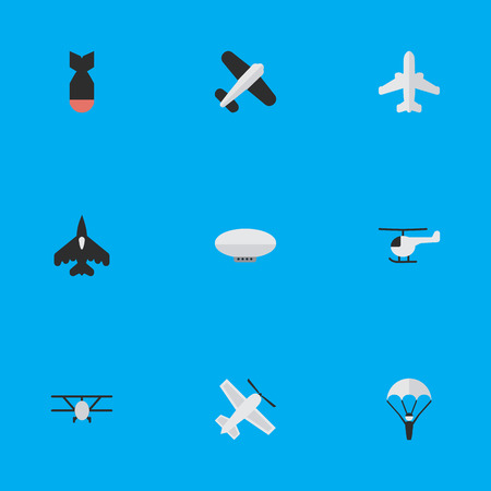 Elements Airplane, Flying Vehicle, Aviation And Other Synonyms Chopper, Parachute And Airplane.  Vector Illustration Set Of Simple Plane Icons. Illustration