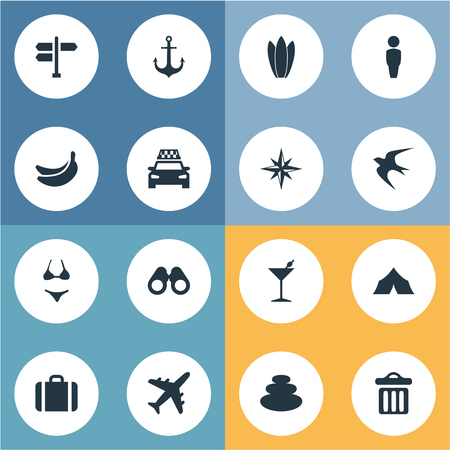 Elements Crossroad, Suitcase, Ship Stop And Other Synonyms Luggage, Travel And Glasses.  Vector Illustration Set Of Simple Beach Icons.