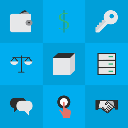 Elements Dollar, Square, Finger Touching And Other Synonyms Cube, Locker And Wallet.  Vector Illustration Set Of Simple Business Icons.