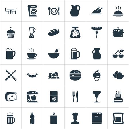 Elementos Hot Cup, Catering, Clay y otros sinónimos Birthday, Cake And Board. Ilustración vectorial Conjunto de iconos de cocina simple.