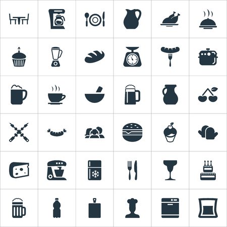 Elements Hot Cup, Catering, Clay And Other Synonyms Birthday, Cake And Board.  Vector Illustration Set Of Simple Kitchen Icons.