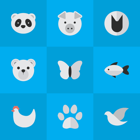 Elements Panda , Bear, Moth Synonyms Butterfly, Cat And Cock.  Vector Illustration Set Of Simple Wild Icons.