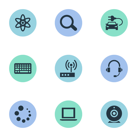 Elements Plug, Magnifier, Headphones And Other Synonyms Modem, Magnifier And Web.  Vector Illustration Set Of Simple Technology Icons.