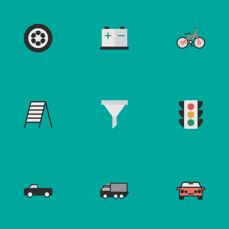 Elements Traffic Lights, Recycle, Auto And Other Synonyms Percolator, Suv And Accumulator.  Vector Illustration Set Of Simple Traffic Icons.
