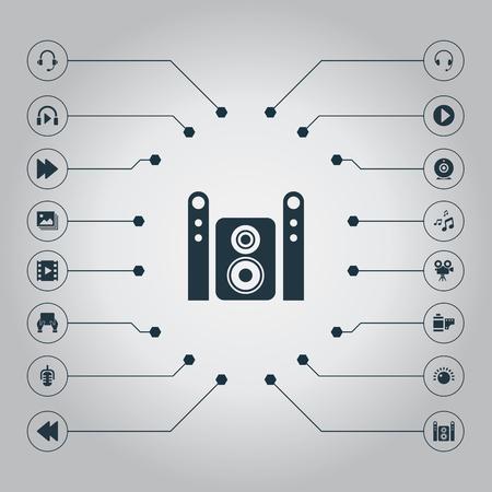 Elementen Muziek Luisteren, Web Cam, Earmuff And Other Synoniemen Hand, Listen And Headphones. Vectorillustratiereeks Eenvoudige Pictogrammen Van Verschillende media.