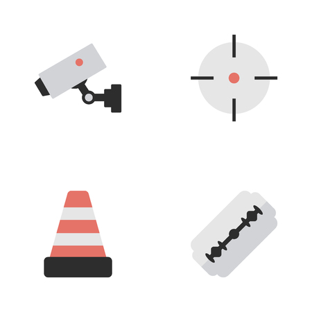 barbershop: Elements Isolated, Target, Supervision And Other Synonyms Shot, Blade And Cone.  Vector Illustration Set Of Simple Crime Icons.