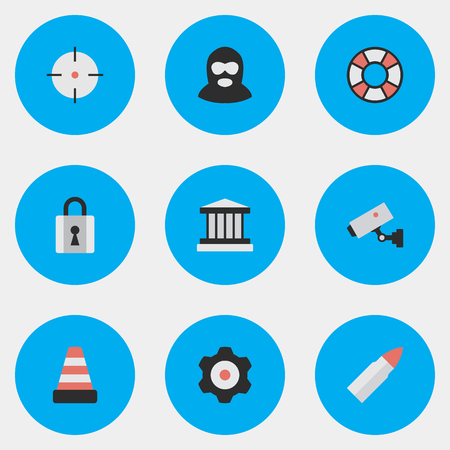 Elements Supervision, Shot, Closed And Other Synonyms Cogwheel, Lifesaver And Gun.  Vector Illustration Set Of Simple Offense Icons. Illusztráció