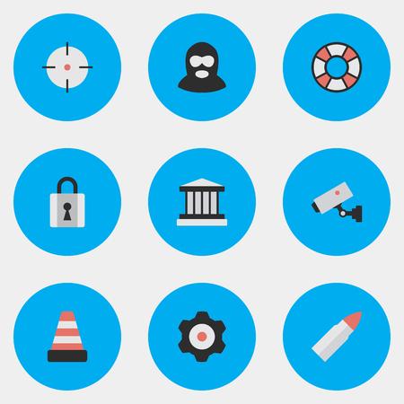 Supervision des éléments, Shot, Closed et autres synonymes Roue dentée, Lifesaver And Gun. Vector Illustration Set d'icônes de l'infraction simple.