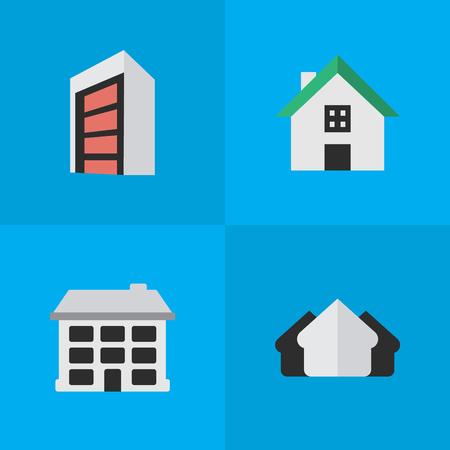Proprietà degli elementi, costruzione, struttura e altri sinonimi Casa, costruzione e costruzione. Illustrazione vettoriale Set di icone semplici reali. Archivio Fotografico - 83660382
