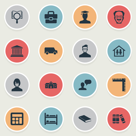Elements Bookstore, Courthouse, Travel Truck And Other Synonyms Alma, Building And Machine.  Vector Illustration Set Of Simple Knowledge Icons. Illustration