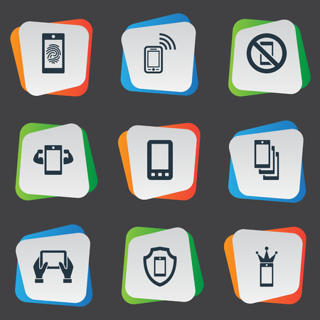 Elements Technology, Touch, New Version And Other Synonyms Identification, Thumbprint And Authentication.  Vector Illustration Set Of Simple Telephone Icons.
