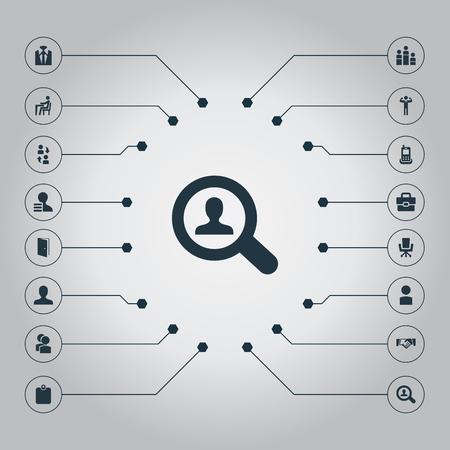 요소 고용, 그룹, 계정 및 기타 동의어 고용, 개인 및 문. 벡터 일러스트 레이 션 간단한 인간의 아이콘의 집합입니다.