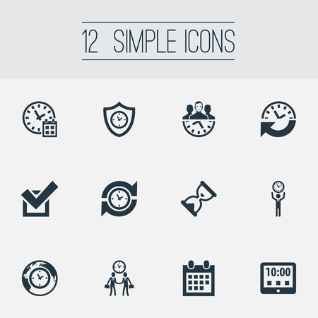 Elements Tablet, Shield, Recurrence And Other Synonyms Meeting, Loading And Yes.  Vector Illustration Set Of Simple Time Icons. Illustration