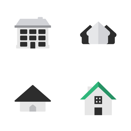 Elements Home, Property, Base And Other Synonyms Estate, Property And Real.  Vector Illustration Set Of Simple Property Icons.