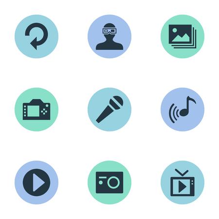 Elementen Multimedia, update, presentatie en andere synoniemenmicrofoon, apparatuur en herladen. Vector illustratie Set van eenvoudige pictogrammen. Stock Illustratie
