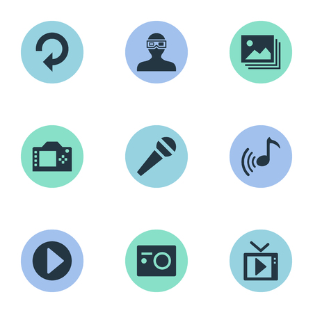 Elements Multimedia, Update, Presentation And Other Synonyms Microphone, Apparatus And Reload.  Vector Illustration Set Of Simple  Icons. Illustration