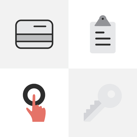 Elements Clipboard, Finger Touching, Opening And Other Synonyms Open, Key And Pay.  Vector Illustration Set Of Simple Job Icons. Illustration