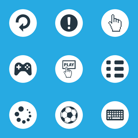 Elements Tasks, Warning, Football And Other Synonyms Tasks, Start And Cursor.  Vector Illustration Set Of Simple Leisure Icons.