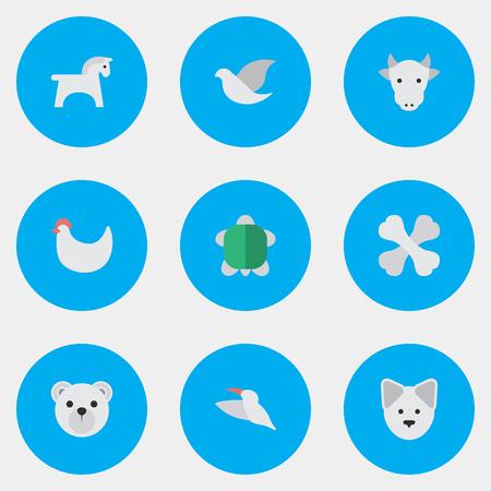 Elements Kine, Tortoise, Panda Synonyms Bird, Bear And Panda.  Vector Illustration Set Of Simple Fauna Icons.