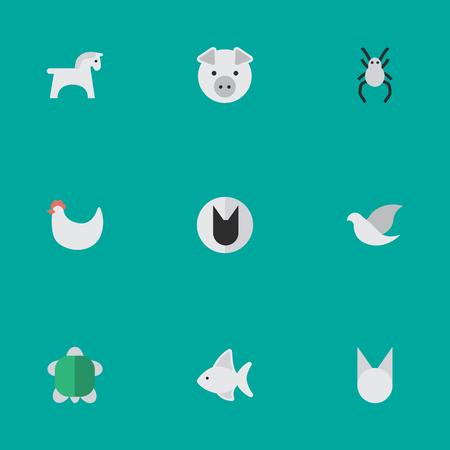 Elements Fish, Tomcat, Tortoise And Other Synoniemen Dove, Hen And Seafood. Vectorillustratiereeks Eenvoudige Faunapictogrammen.