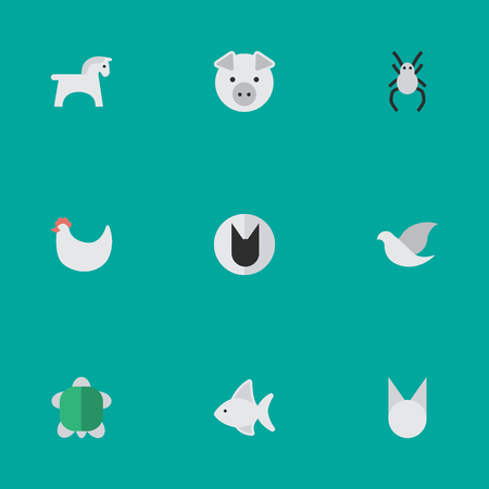 Elements Fish, Tomcat, Tortoise And Other Synonyms Dove, Hen And Seafood.  Vector Illustration Set Of Simple Fauna Icons. Иллюстрация
