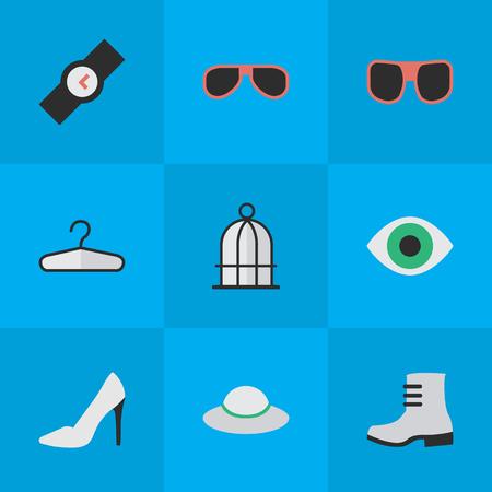 요소 여성 모자, 옷 걸이, 뒤꿈치 및 기타 동의어 걸이, 부팅 및 액세서리. 벡터 일러스트 레이 션 간단한 액세서리 아이콘의 집합입니다.