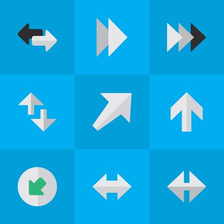 Elements Northwestward, Southwestward, Indicator And Other Synonyms Everyway, Up And Upward.  Vector Illustration Set Of Simple Indicator Icons.
