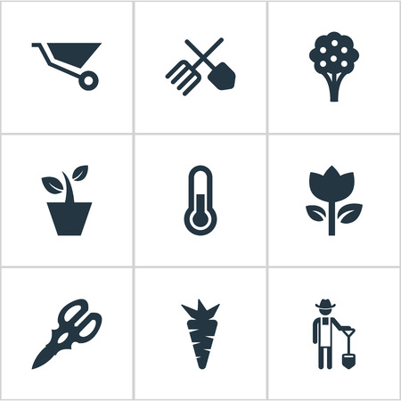 Elements Plougher, Blossom, Flowerpot And Other Synonyms Pushcart, Equipment And Scissors.  Vector Illustration Set Of Simple Garden Icons. Illustration