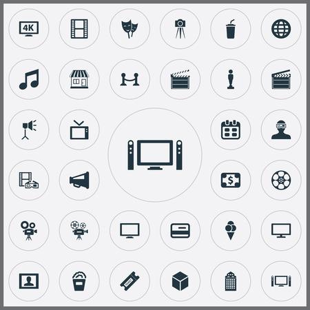 Elements Television, Home Cinema, Presenter And Other Synoniemen Bill, Ancient And Man. Vectorillustratiereeks Eenvoudige Bioskooppictogrammen.