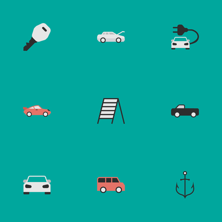 Elements Automobile, Armature, Charge And Other Synonyms Key, Family And Charge.  Vector Illustration Set Of Simple Traffic Icons.