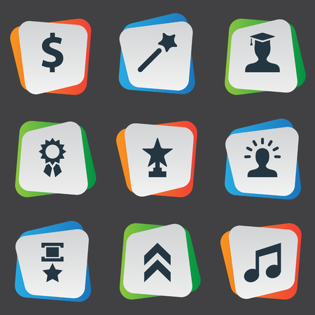 Elements Postgraduate, Money, Avatar And Other Synonyms Triumphant, Student And Postgraduate.  Vector Illustration Set Of Simple Awards Icons. Illustration