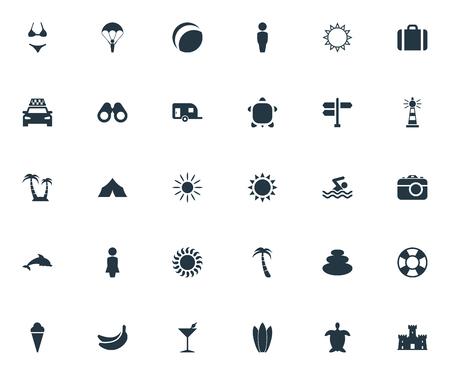 Elements Shelter, Swimming Man, Suitcase and Other Synoniemen Adventure, Balance and Photography. Vectorillustratiereeks Eenvoudige Kustpictogrammen.