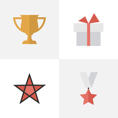 Elements First, Trophy, Award And Other Synonyms Present, Medal And Surprise.  Vector Illustration Set Of Simple Achievement Icons.