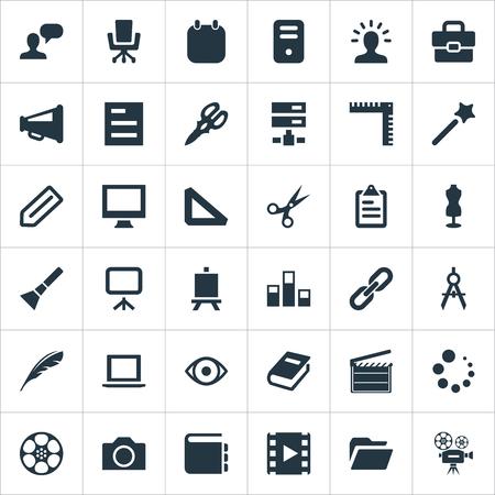 Elements Colums Graph, Wizard Stick, Cinematography And Other Synoniemen Dummy, Digital en Server. Vectorillustratiereeks Eenvoudige Iconen van Designicons.