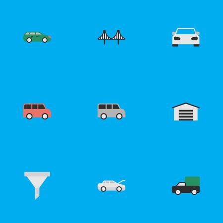 Elementos Minibus, Pickup, Sport y otros sinónimos Garage, Shed And Family. Ilustración vectorial Conjunto de iconos de tráfico simple. Foto de archivo - 83660416
