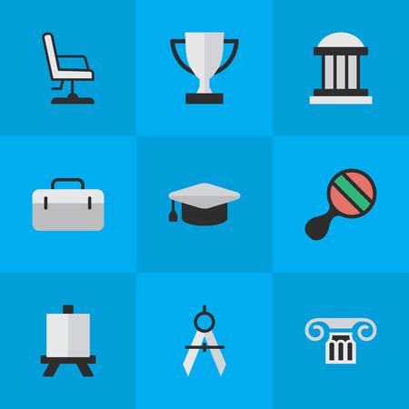요소 대학, 학업 모자, 안락 의자 및 기타 동의어 탁구, 학술 및 이젤. 벡터 일러스트 레이 션 간단한 교육 아이콘의 집합입니다.