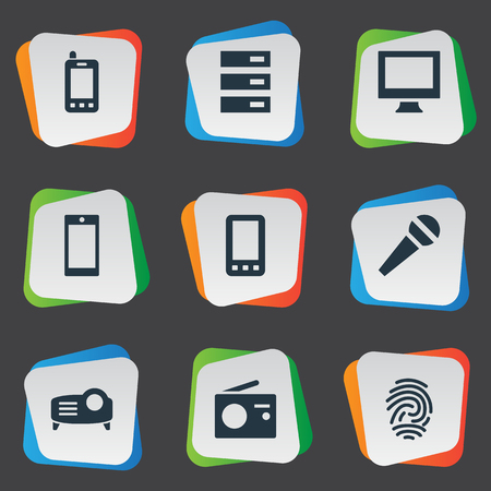 Elements Monitor, Karaoke, Show And Other Synonyms Hardware, Mic And Thumbprint.  Vector Illustration Set Of Simple Device Icons.