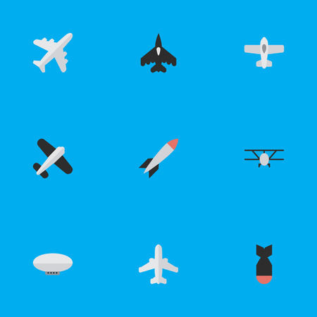 비행 차량, 비행기, 로켓 및 기타 동의어 폭탄, 로켓 및 비행기. 벡터 일러스트 레이 션 간단한 비행기 아이콘의 집합입니다.