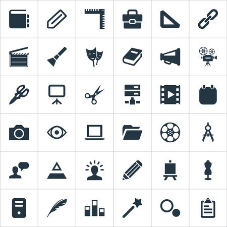 要素のペン、拡声器、システム ユニットと類義語の他のカメラでは、写真やグラフ。 シンプルなデザインのアイコンのベクトル イラスト セット。